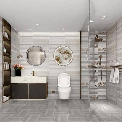 卫生间, 洗手台, 洗手盆, 镜子, 淋浴间, 毛巾架