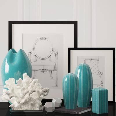 陶瓷, 挂画, 珊瑚, 饰品, 现代