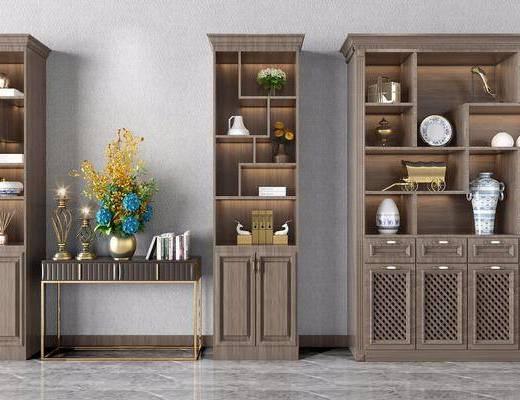 酒柜, 装饰柜, 边柜, 装饰品, 陈设品, 摆件, 新中式