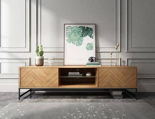 实木电视柜, 装饰柜, 边柜, 装饰画, 摆件, 装饰品, 陈设品, 现代