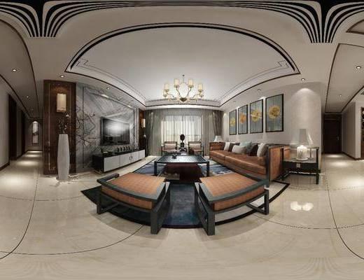 新中式客餐厅, 客餐厅, 客厅, 新中式客厅, 中式客厅