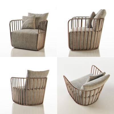 布艺沙发, 单人沙发, 现代