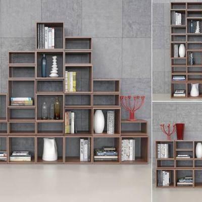 置物架, 书架, 书本, 书籍, 摆件, 装饰架, 瓷器, 花瓶, 现代