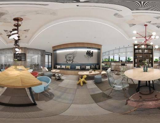 办公室, 休息区, 桌椅组合, 吧台椅组合, 摆件组合, 吊灯组合, 工装全景, 现代