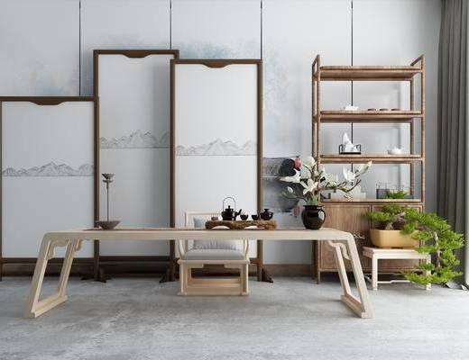 茶室, 茶桌椅, 桌椅组合