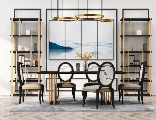 餐桌, 餐椅, 书架, 吊灯, 新中式, 现代, 餐桌椅, 椅子, 装饰架, 置物架, 装饰画, 挂画