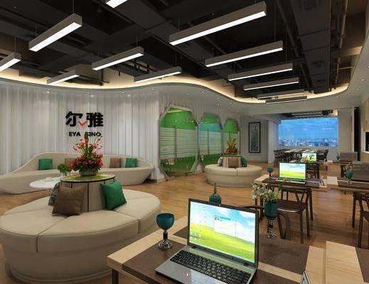 办公区, 前台, 现代办公区, 桌椅组合, 摆件组合