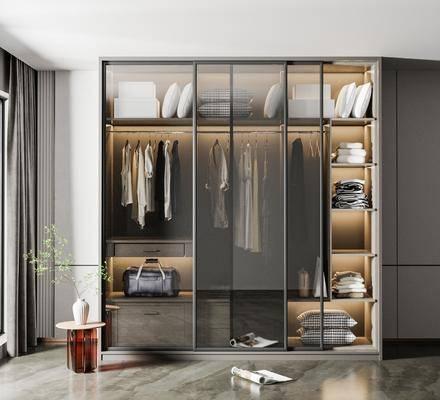 现代玻璃推拉门衣柜