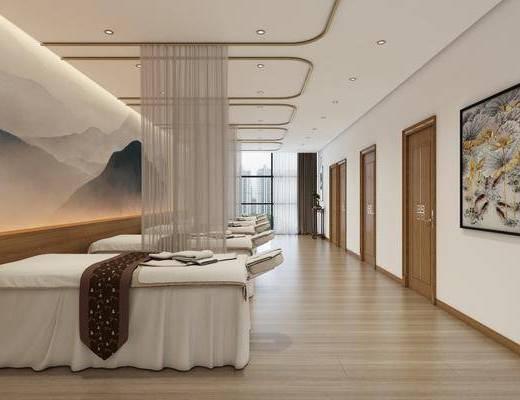 按摩房, 装饰画, 按摩床, 装饰架, 盆栽, 绿植植物, 中式
