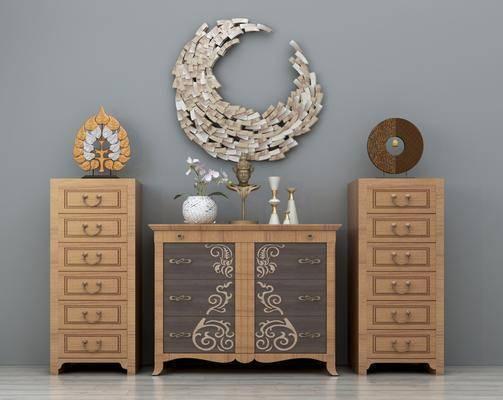 装饰柜, 边柜, 柜架组合, 东南亚装饰柜组合, 摆件, 墙饰, 东南亚
