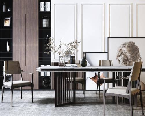 餐桌, 桌椅组合, 摆件组合, 装饰画