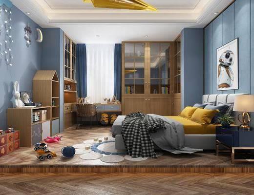 儿童房, 双人床, 床头柜, 台灯, 装饰画, 挂画, 书桌, 单人椅, 装饰柜, 墙饰, 书柜, 玩具, 玩偶, 摆件, 装饰品, 陈设品, 北欧