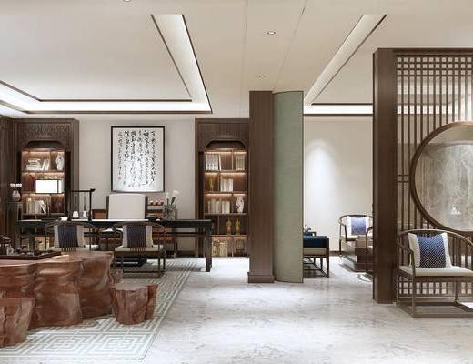 中式, 新中式, 中式办公室, 经理室, 办公区, 桌椅