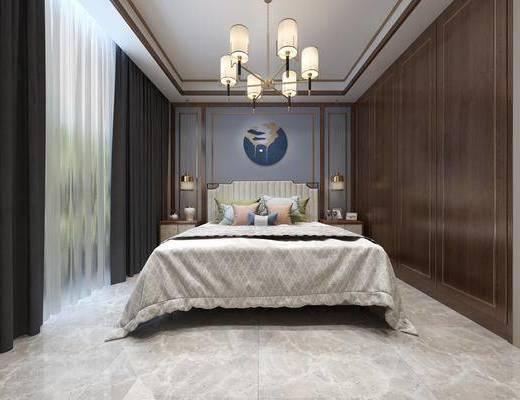 臥室, 床具組合, 吊燈, 掛畫, 新中式