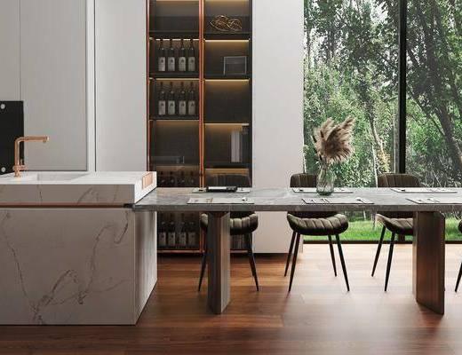 现代轻奢, 餐桌, 餐椅, 花瓶