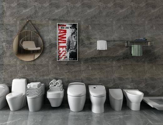 馬桶組合, 裝飾鏡, 掛畫, 現代