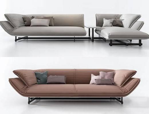 多人沙发, 沙发组合, 抱枕, 边几