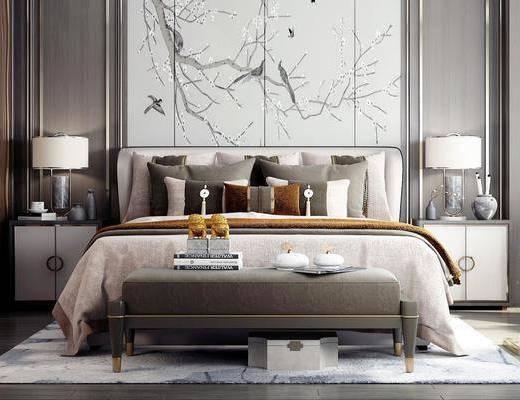 台灯, 窗帘, 单椅, 衣柜, 地毯, 地板, 摆件, 抱枕