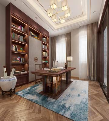 桌椅組合, 書柜, 吊燈, 擺件組合