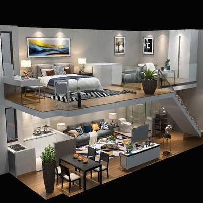 复式, 整套, 客厅, 卧室