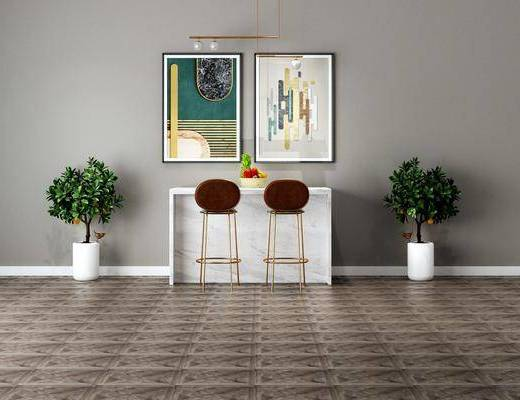 吧臺椅組合, 盆栽組合, 綠植植物, 掛畫組合, 吊燈, 現代