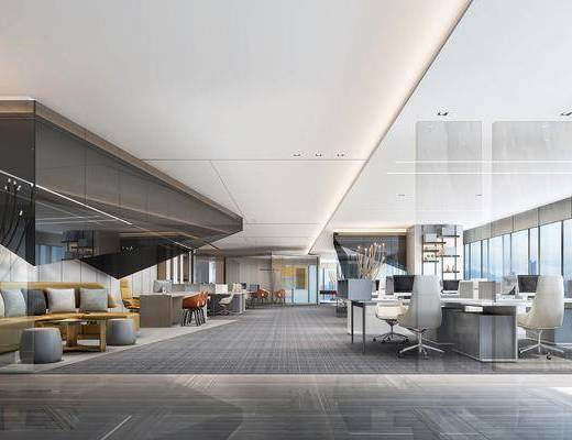 办公区, 办公桌椅组合, 电脑桌椅组合, 沙发组合, 沙发茶几组合, 现代