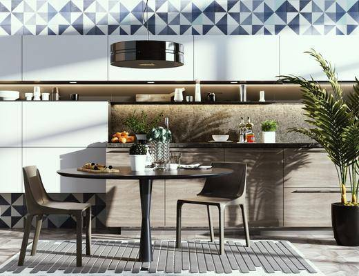 橱柜组合, 餐桌, 桌椅组合, 摆件组合