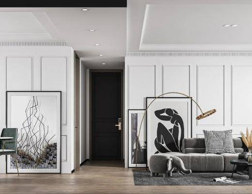 沙发组合, 茶几, 摆件组合, 地毯, 装饰画, 餐桌, 吊灯