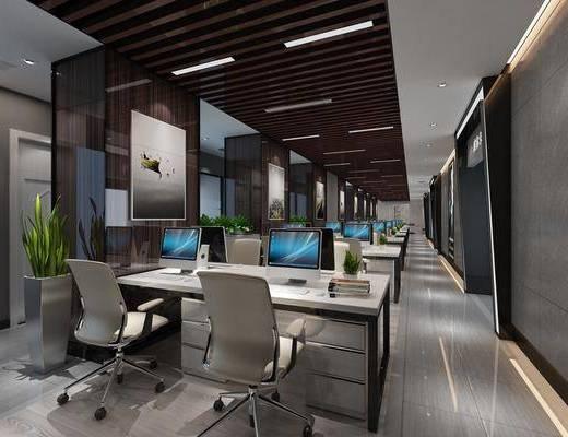 办公区, 现代办公区, 桌椅组合, 单椅, 办公桌