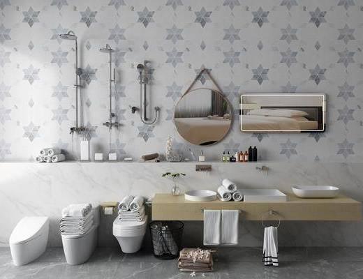 马桶花洒, 洗手台组合, 装饰镜, 花洒组合, 马桶组合, 洗浴用品, 现代
