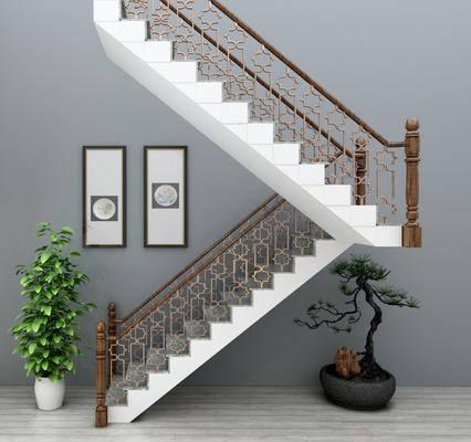 扶手栏杆, 楼梯扶手, 盆栽, 绿植植物, 装饰画, 挂画, 新中式