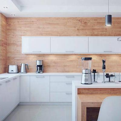 厨房, 北欧厨房, 北欧, 橱柜, 烤箱, 吊灯, 吸油烟机, 洗手台, 中岛柜, 单椅, 水壶