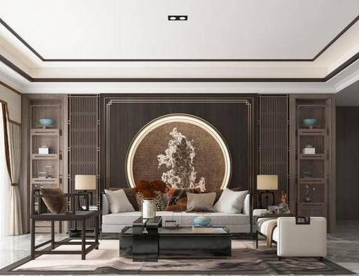沙发组合, 多人沙发, 茶几, 躺椅, 边几, 台灯, 单人椅, 摆件, 装饰品, 陈设品, 新中式