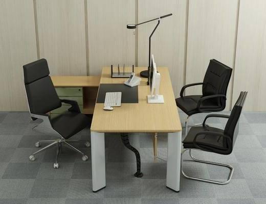 桌椅组合, 办公桌, 办公椅, 单人椅, 轮滑椅, 现代