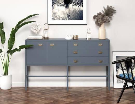 玄关, 厅柜, 装饰边柜, 摆件组合, 装饰画, 单椅