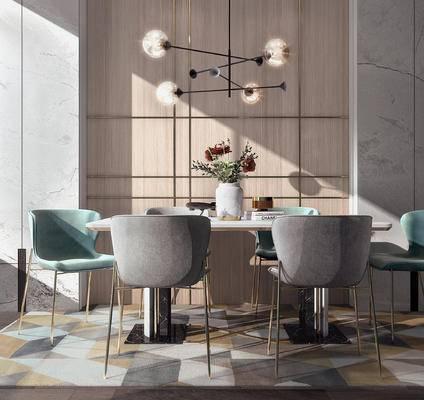 餐桌, 桌椅组合, 吊灯, 花瓶