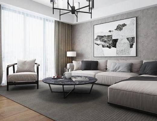 沙发, 沙发组合, 茶几, 吊灯, 装饰画