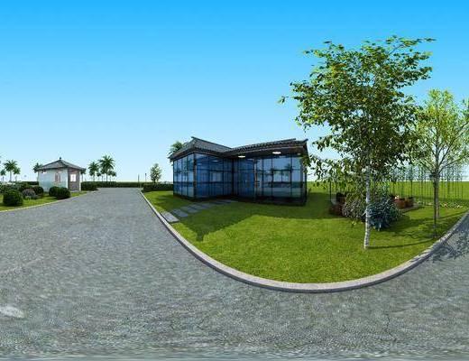 外观, 草地, 树木, 门面门头, 绿植植物, 椰子树, 全景, 中式