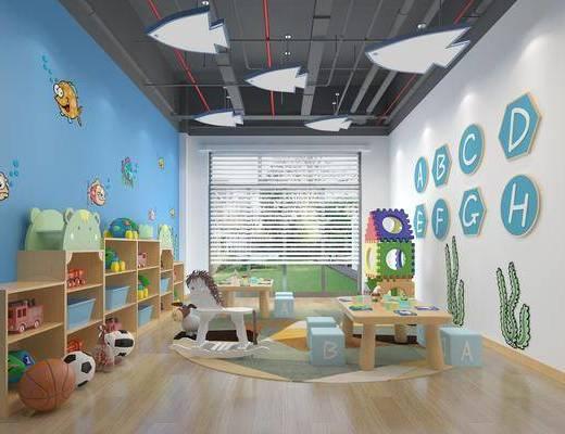 幼儿园, 桌椅组合, 墙饰, 置物柜, 玩具
