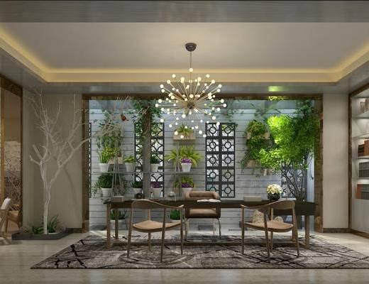 娱乐室, 休闲室, 茶室, 植物墙饰, 吊灯, 泡茶桌, 装饰品摆件