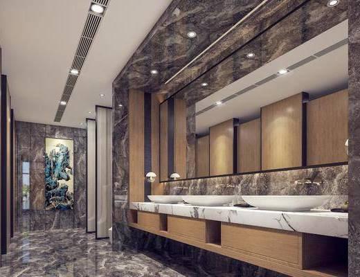 洗手台, 卫生间, 洗浴组合, 装饰画