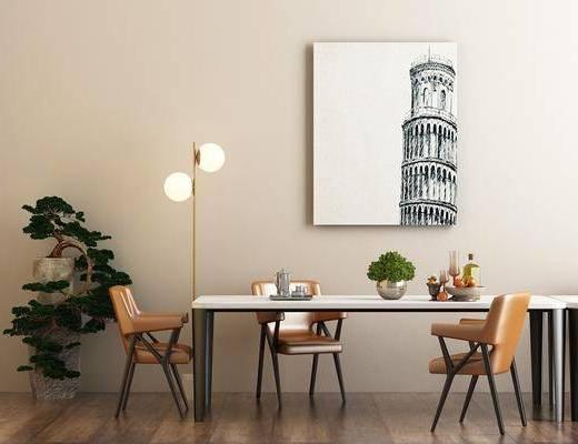 餐桌, 餐椅, 摆件, 挂画, 装饰画, 落地灯, 绿植, 盆栽, 植物, 北欧, 单椅