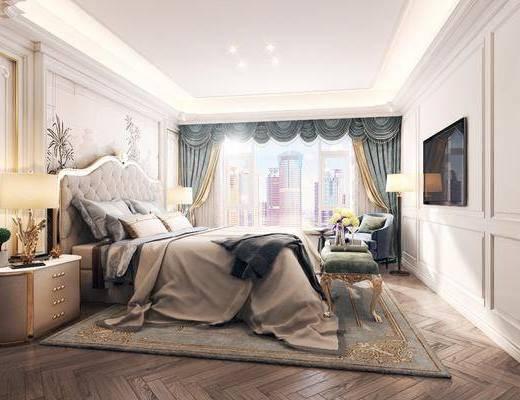 卧室, 双人床, 床头柜, 台灯, 床尾凳, 落地灯, 单人沙发, 简欧