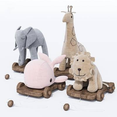玩具, 公仔, 动物玩具, 手拉车, 现代