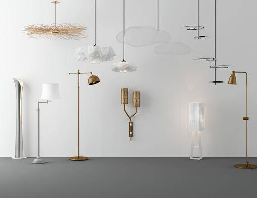 现代吊灯, 现代落地灯, 现代灯具组合, 现代壁灯