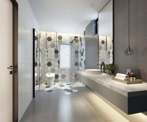 卫生间, 洗手台, 装饰镜, 吊灯, 马桶, 装饰品, 陈设品, 摆件, 现代