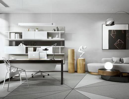 沙发组合, 茶几, 装饰画, 书桌, 墙饰