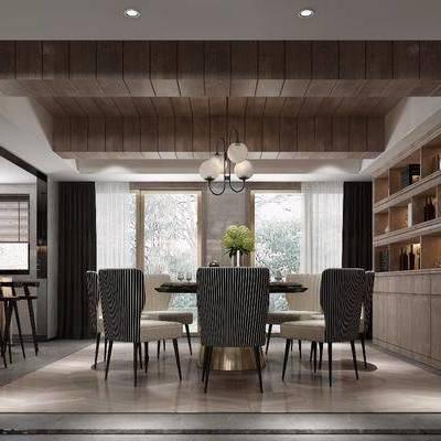 美式餐厅, 餐厅, 餐桌椅, 酒柜, 椅子, 吊灯, 吧台