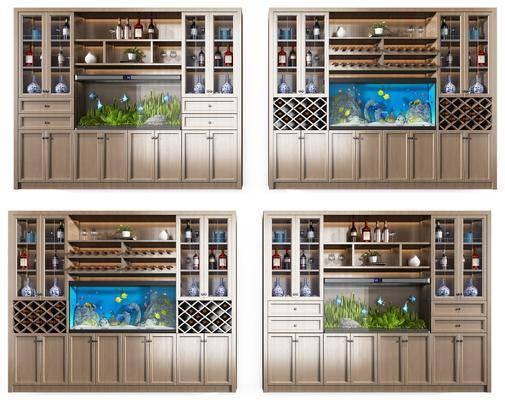 酒柜組合, 魚缸組合, 酒瓶組合, 擺件組合, 新中式