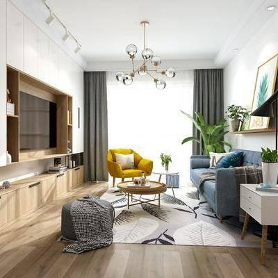 北欧客厅, 北欧, 客厅, 布艺沙发, 椅子, 现代吊灯, 植物, 装饰画